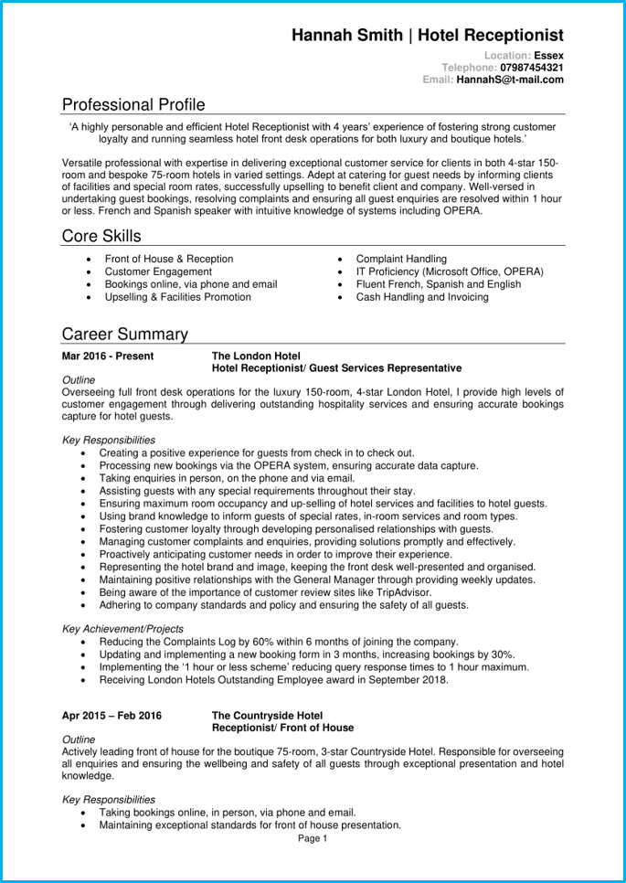Hotel receptionist CV page 1
