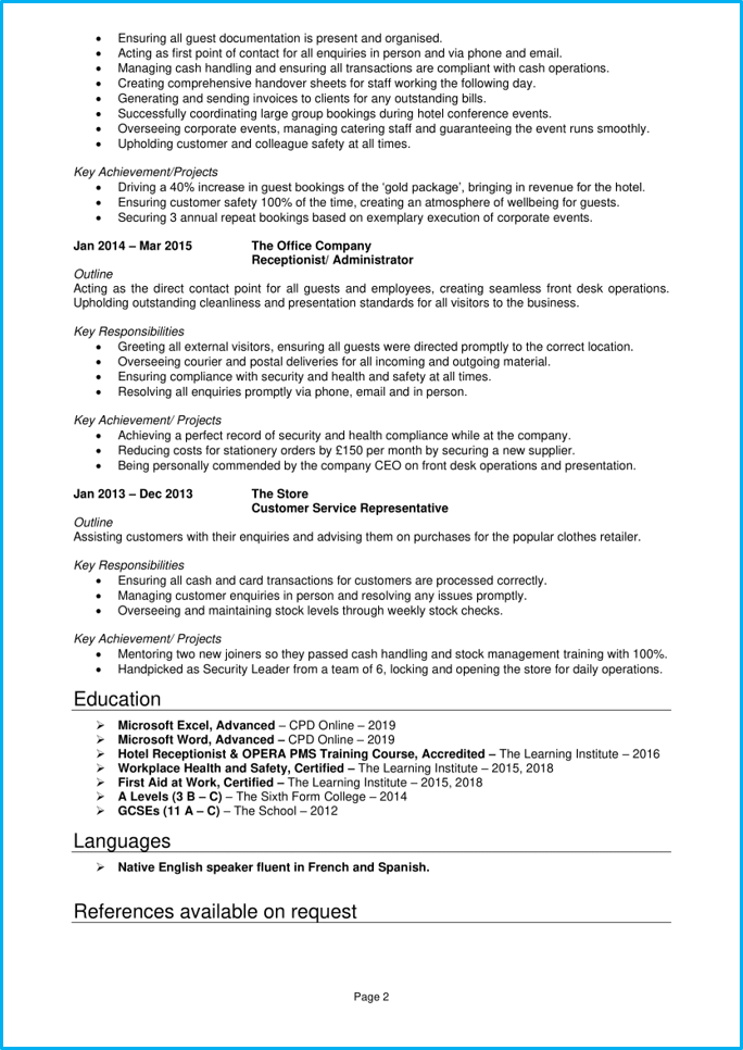 Hotel receptionist CV page 2