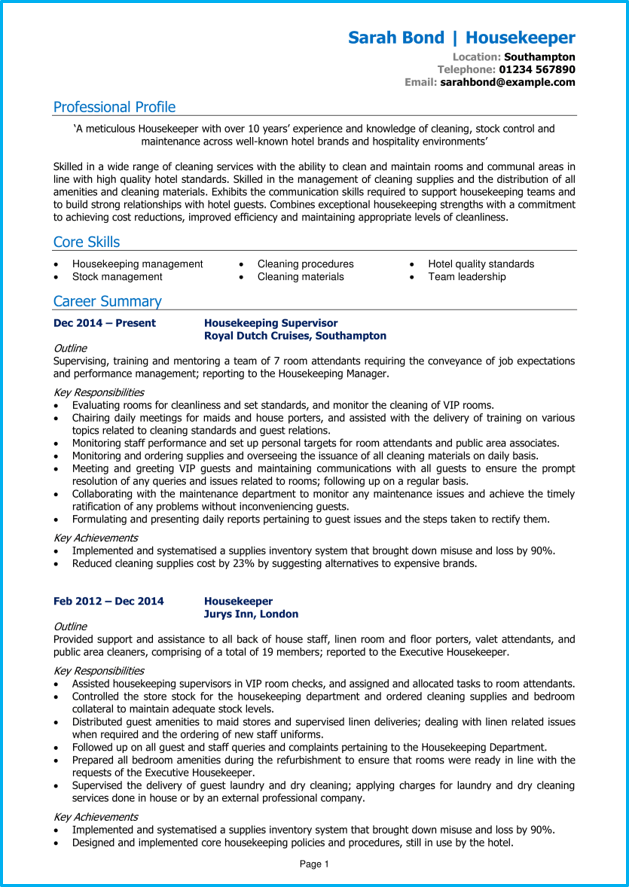 Housekeeper CV example and writing guide [Get noticed by ...