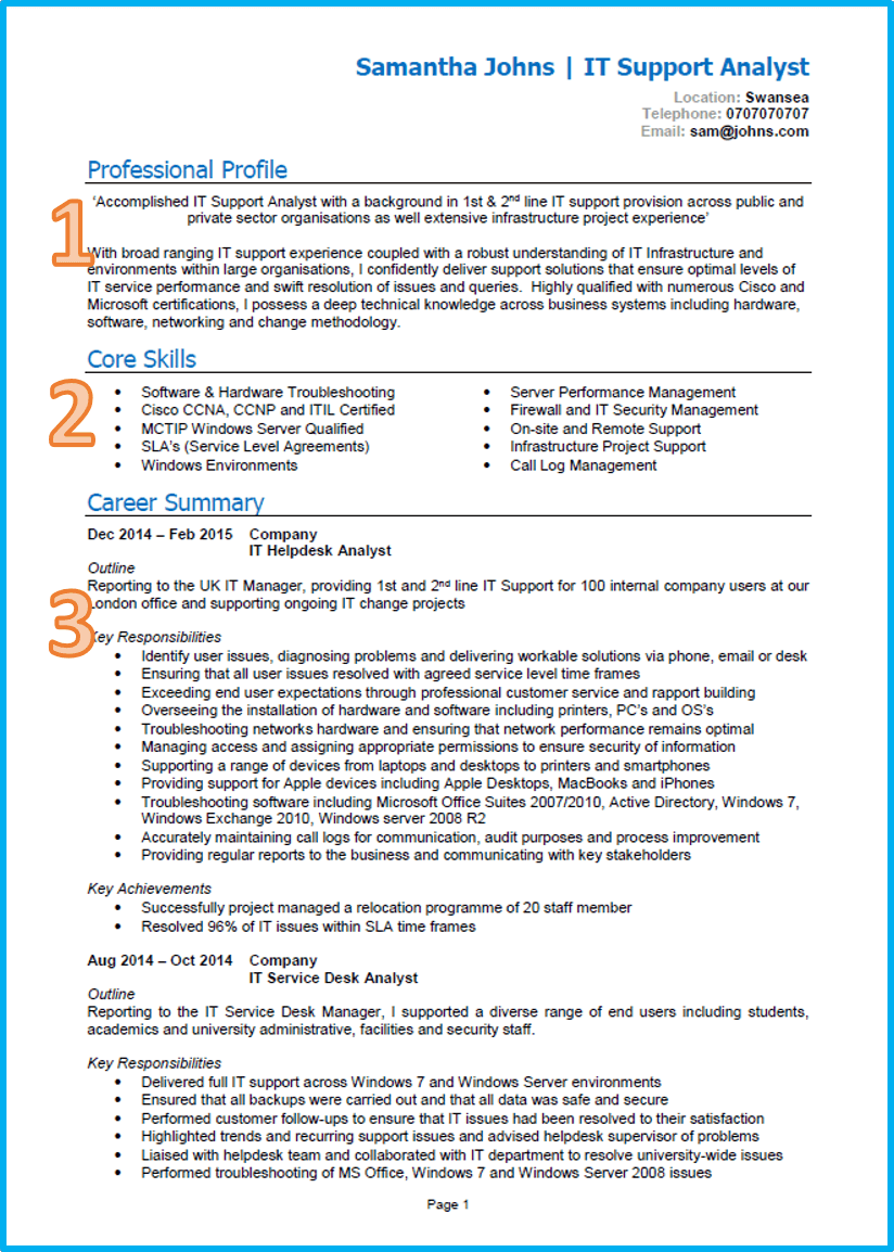 IT CV template Word UK page 1