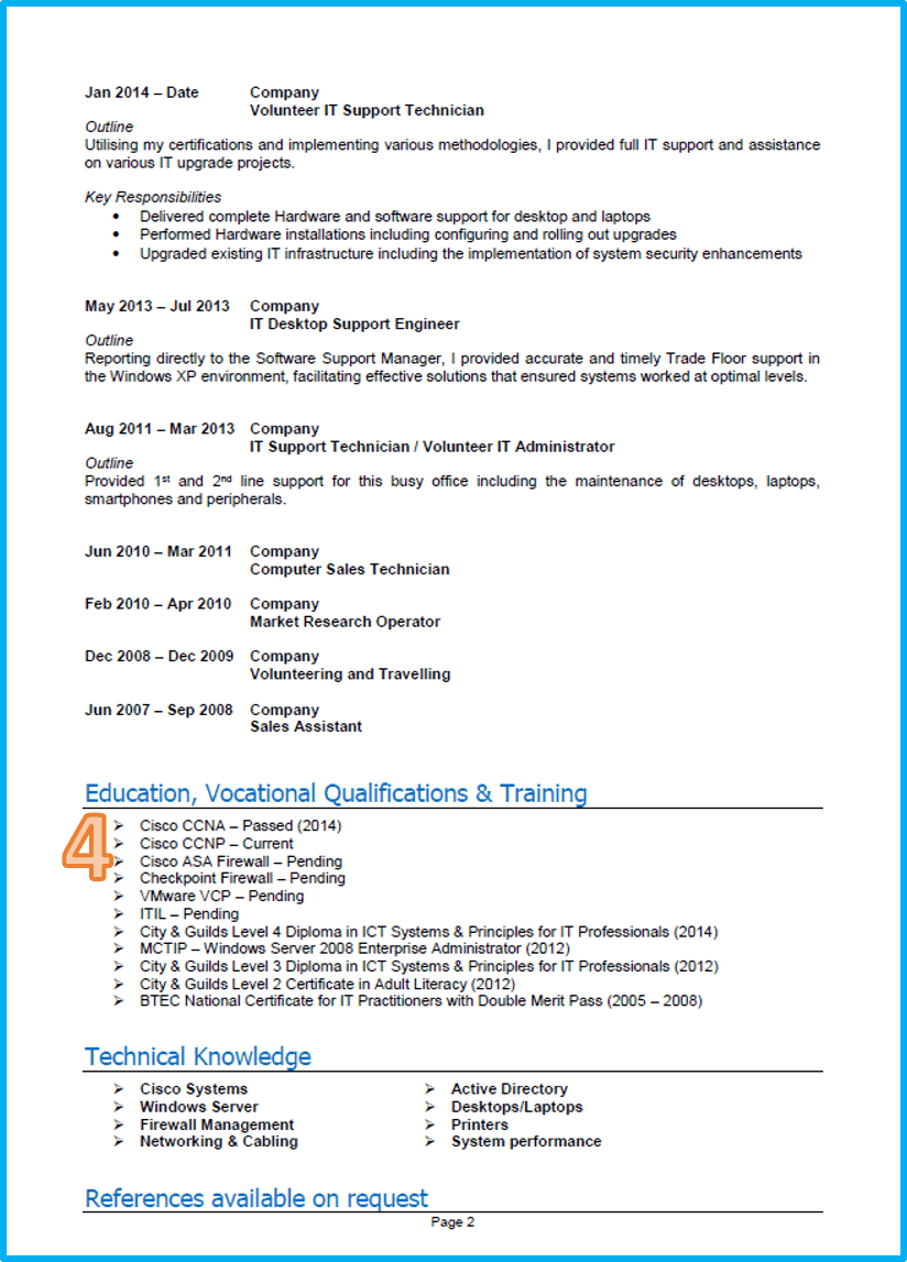 IT CV template Word UK page 2