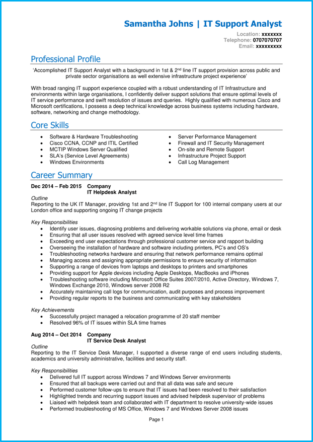 it support cv example   cv writing guide  land a top it job