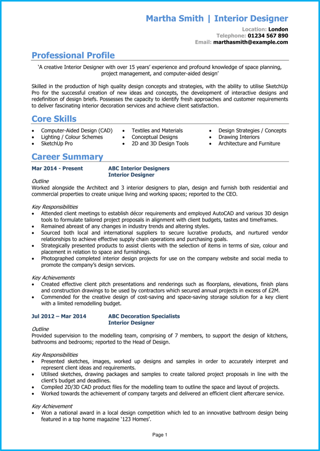 Interior Designer Cv Example Writing Guide Get Hired