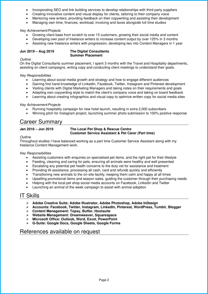 Cv For Internship Example Step By Step Writing Guide Get Hired