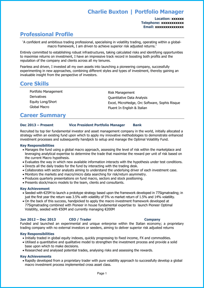 Investment banking CV page 1
