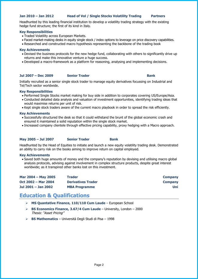 Investment banking CV page 2