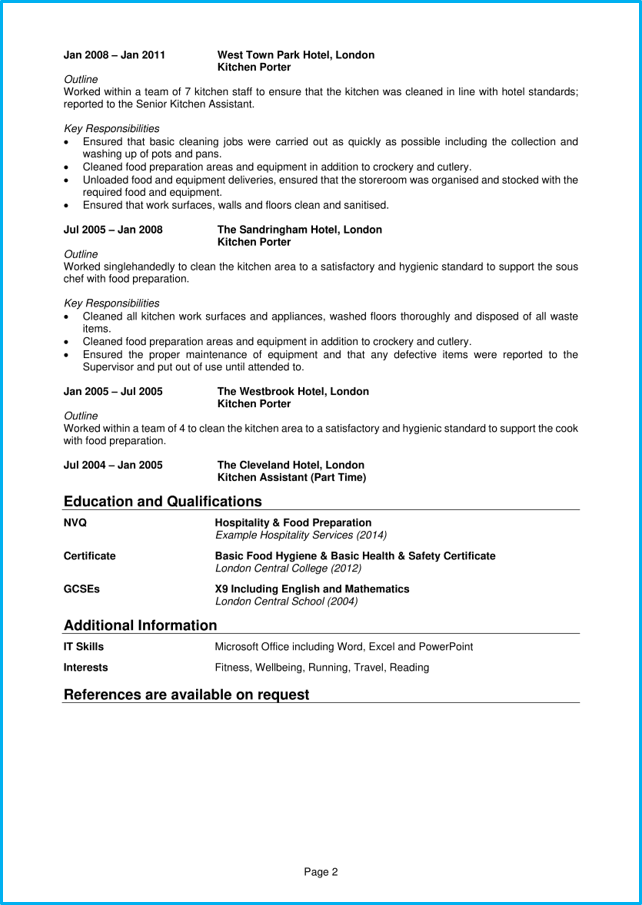 Kitchen Porter CV Example Writing Guide Land The Best Jobs