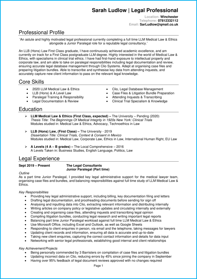 Law student CV page 1