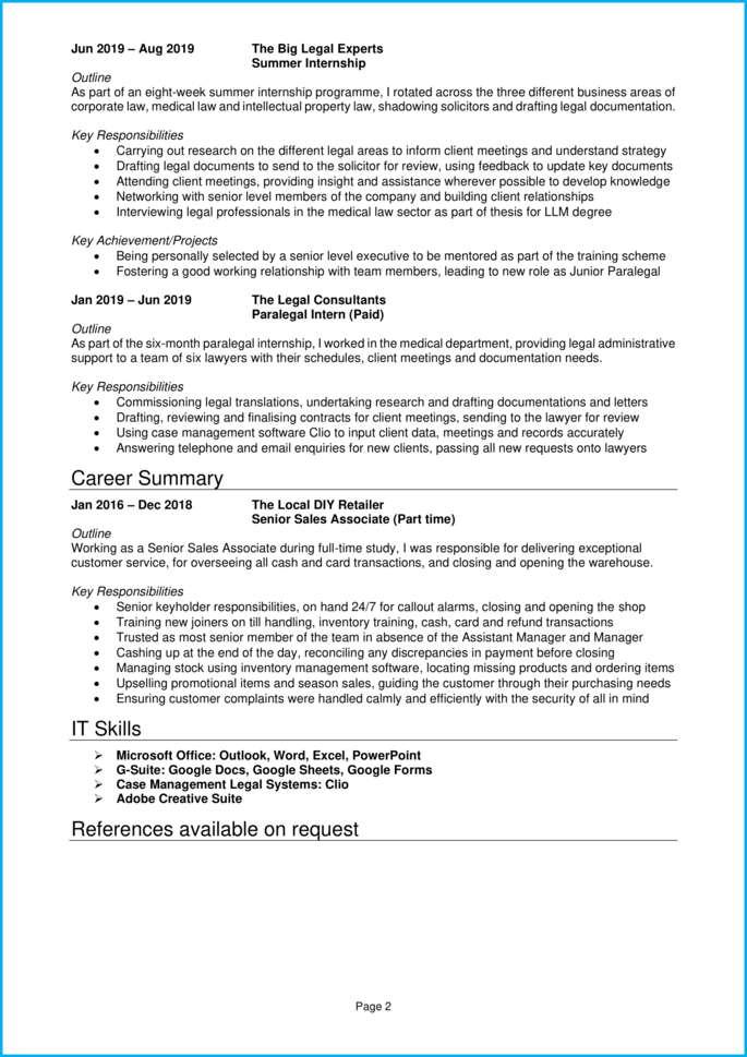 Law student CV page 2
