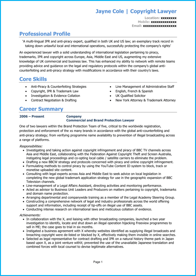 Lawyer CV example