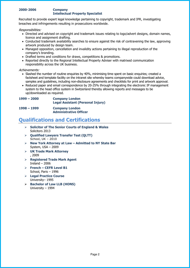 Lawyer CV example page 2