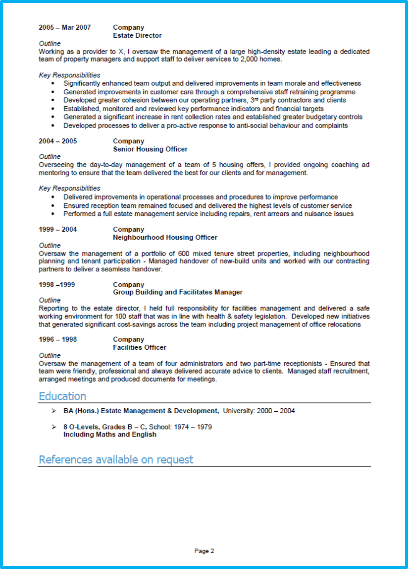 Manager CV template Word UK page 2