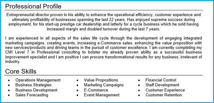 profile on a resume
