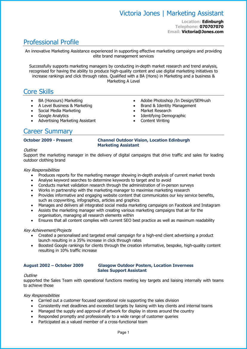 Marketing assistant CV 1