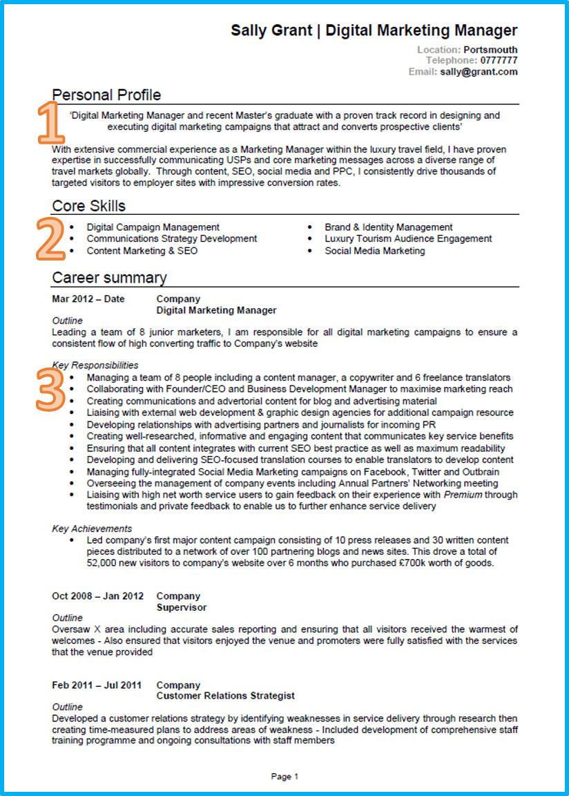 example of a good cv marketing cv middot cv template