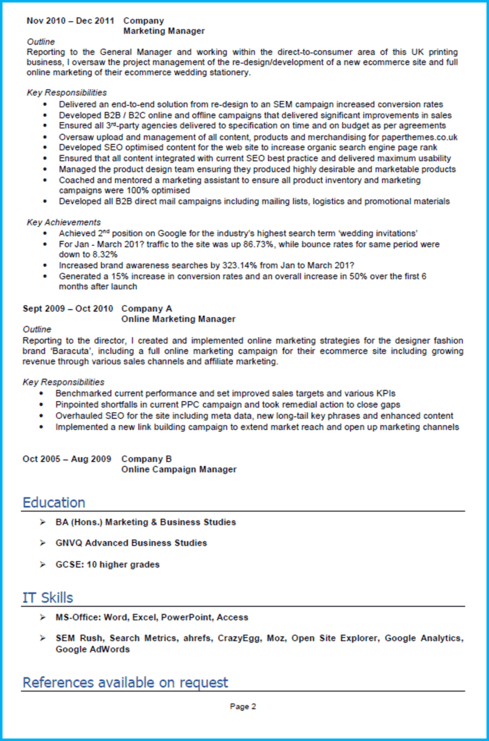 Perfect CV marketing page 1