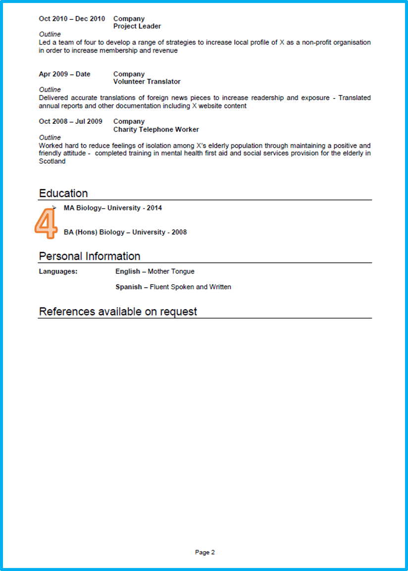 example of a good cv marketing cv page 2