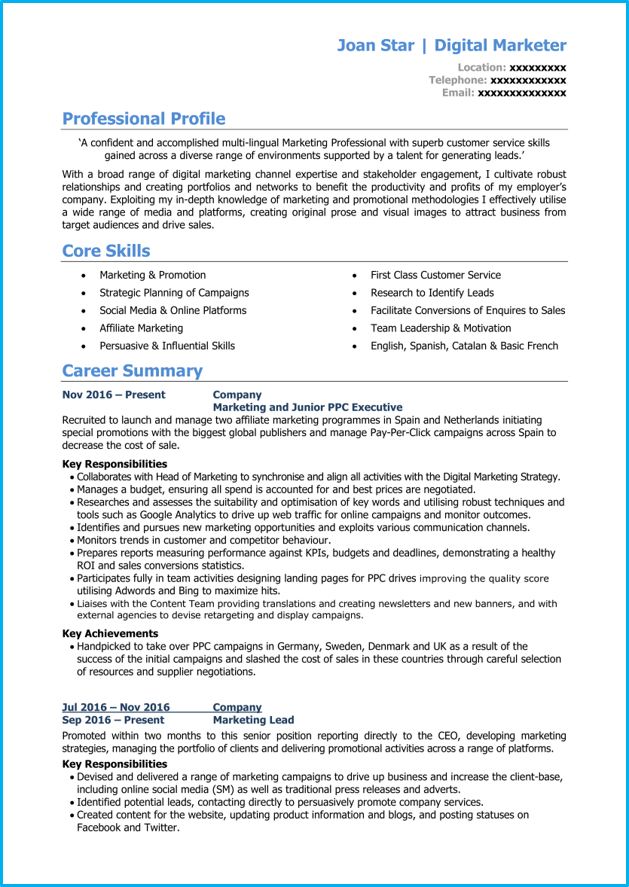 Marketing CV pg1