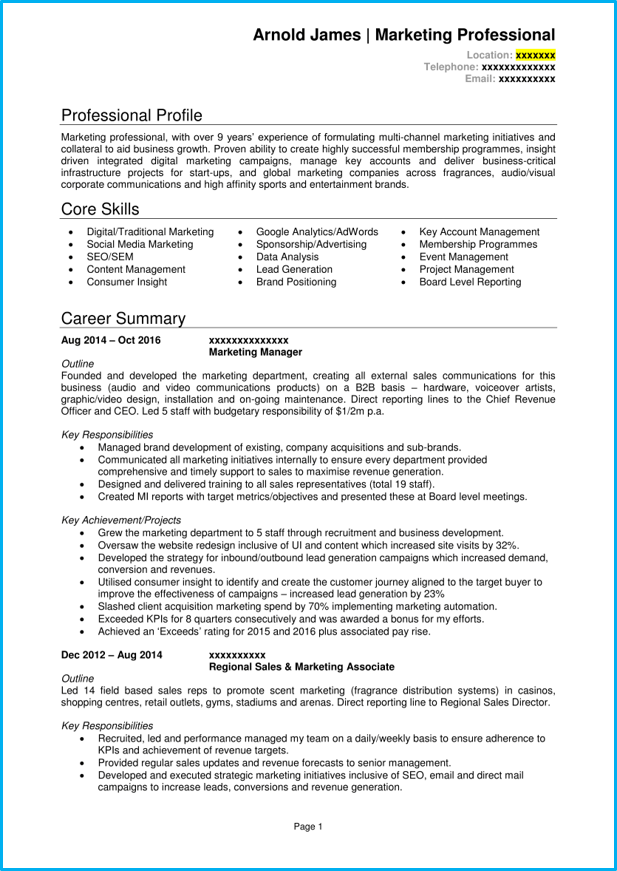 Marketing Manager Cv Example Writing Guide Get Noticed