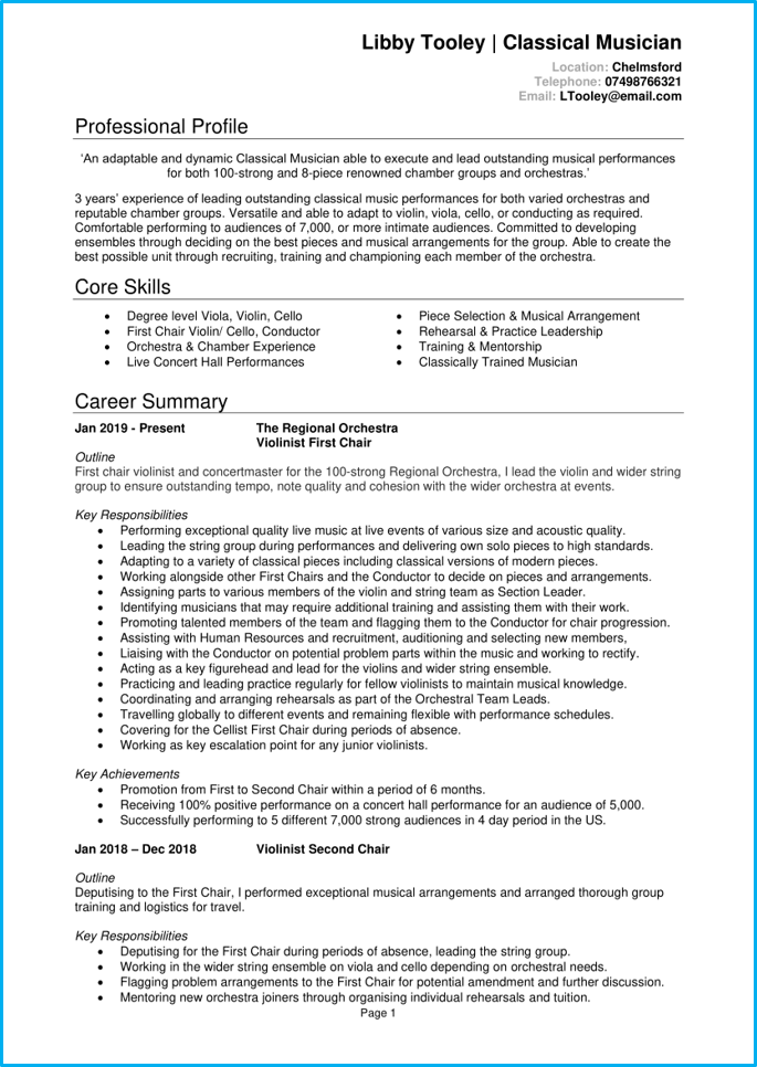 Musician CV page 1