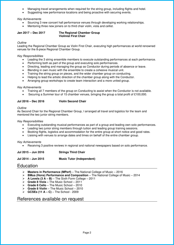 Musician CV page 2