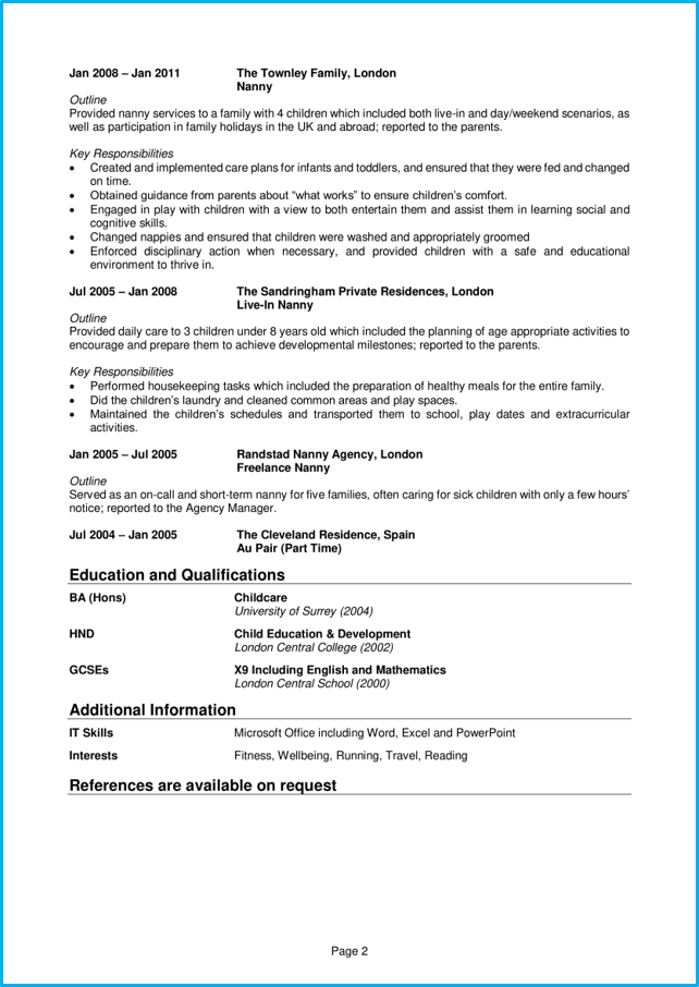 Nanny Cv Example Step By Step Cv Writing Guide Win The Job