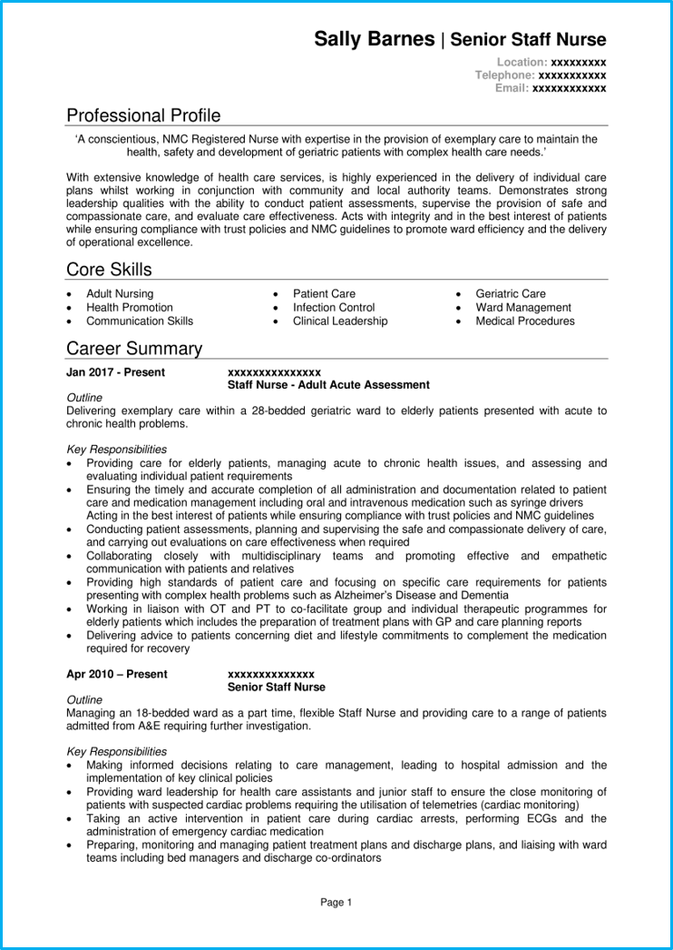 Nursing CV example with writing guide + CV template [Get ...