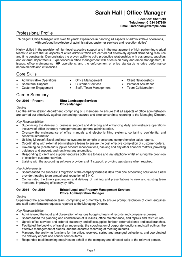 office manager cv example   writing guide  get hired quickly