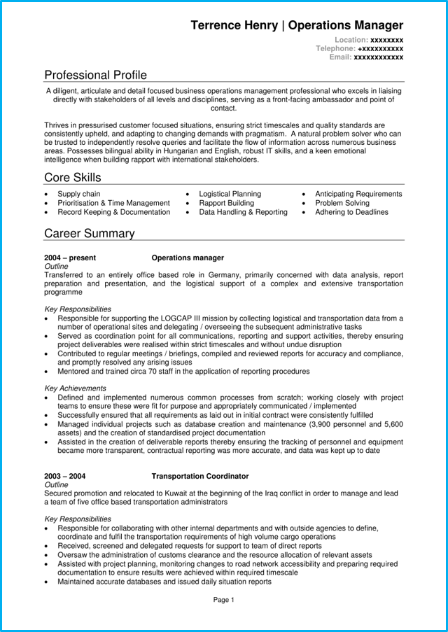 Operations manager CV example + writing guide [land top jobs]