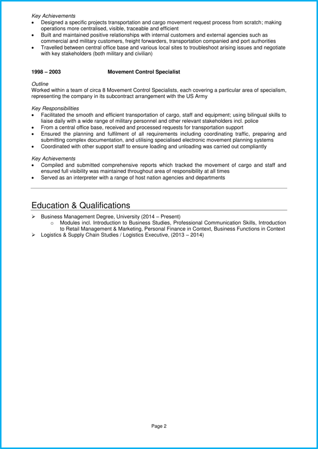 Operations manager CV page 2