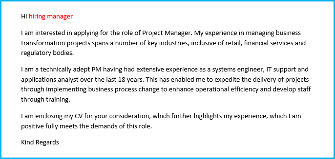 Project manager CV cover letter