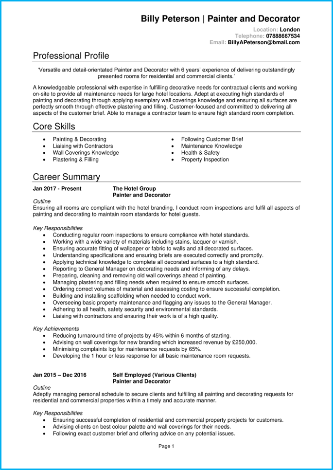 Painter and decorator CV page 1