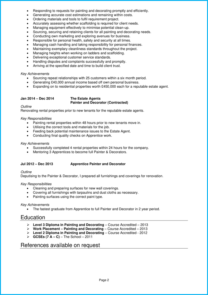 Painter and decorator CV