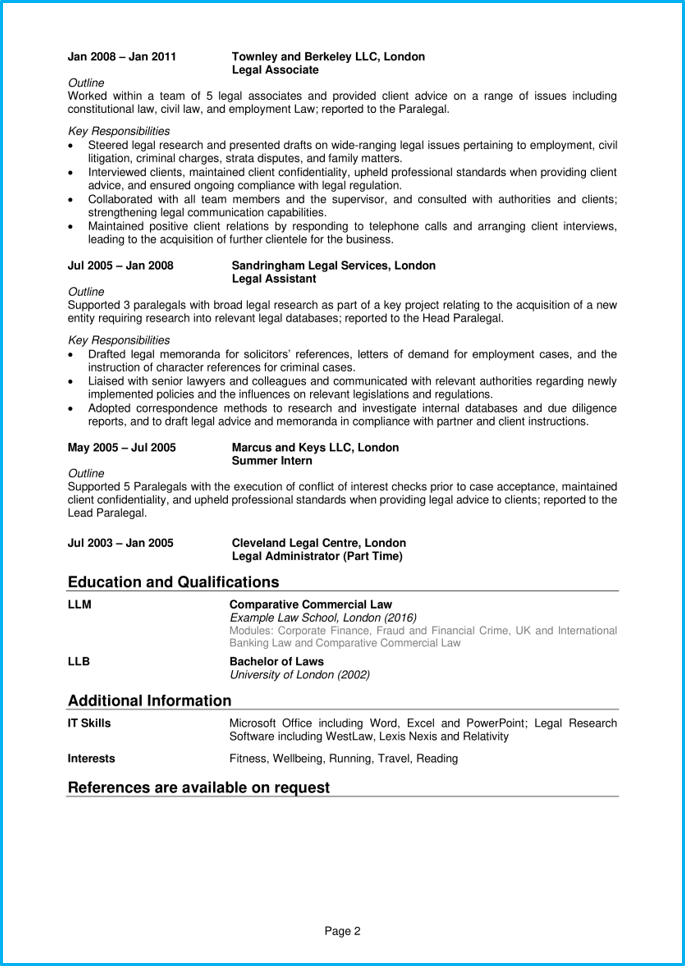Paralegal Cv Example How To Guide Land Your Dream Legal