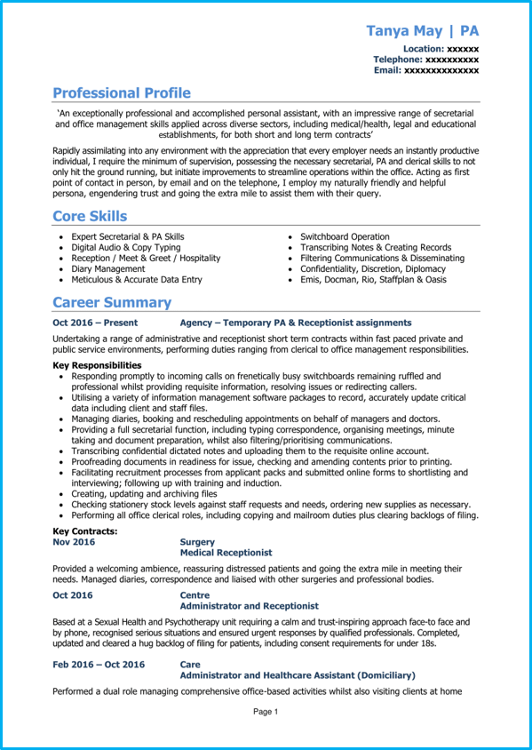 personal assistant cv example   writing guide  get noticed