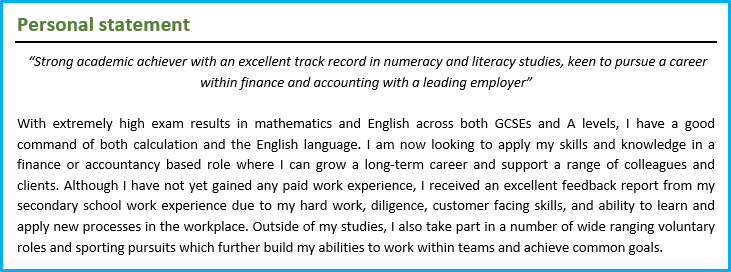 CV Personal Statement Example 3