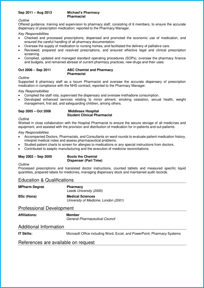 Medical CV 5 - Pharmacist page 2