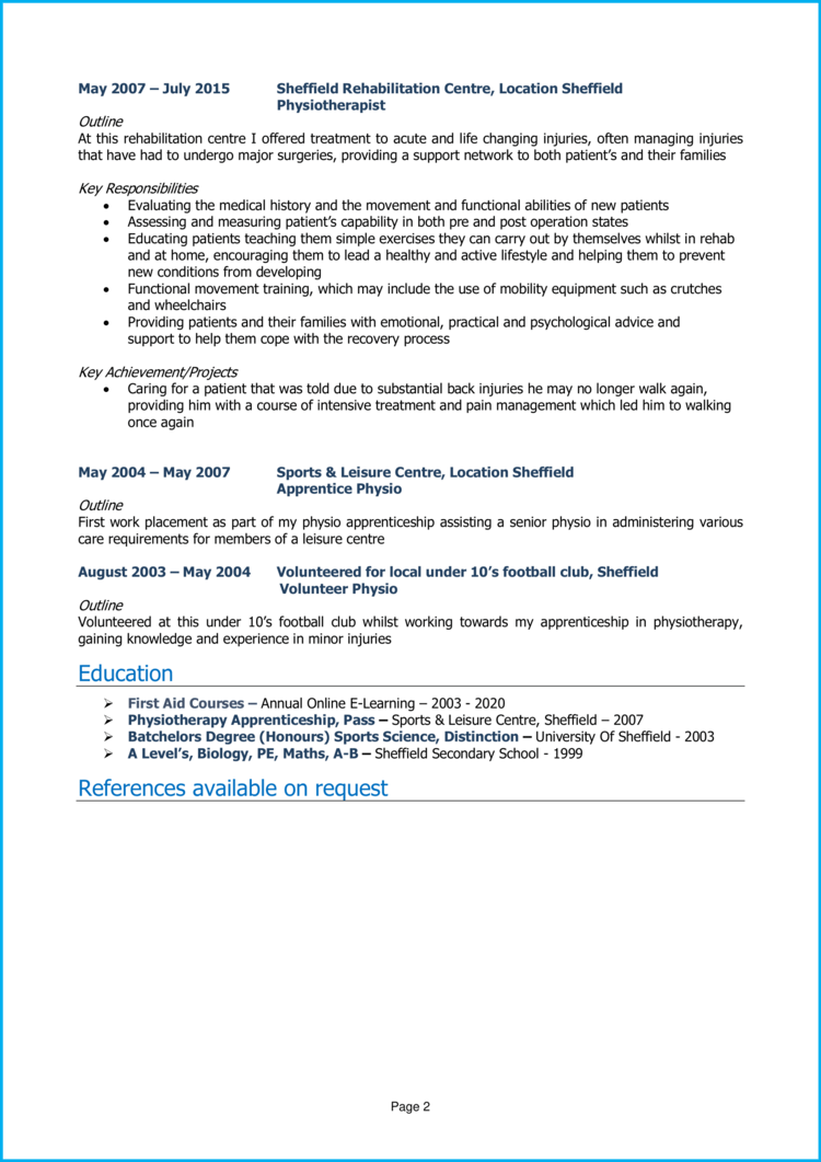 Physiotherapist CV 2