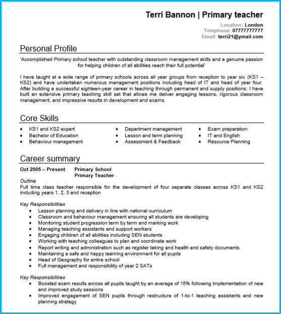 How to write a cv for teaching position