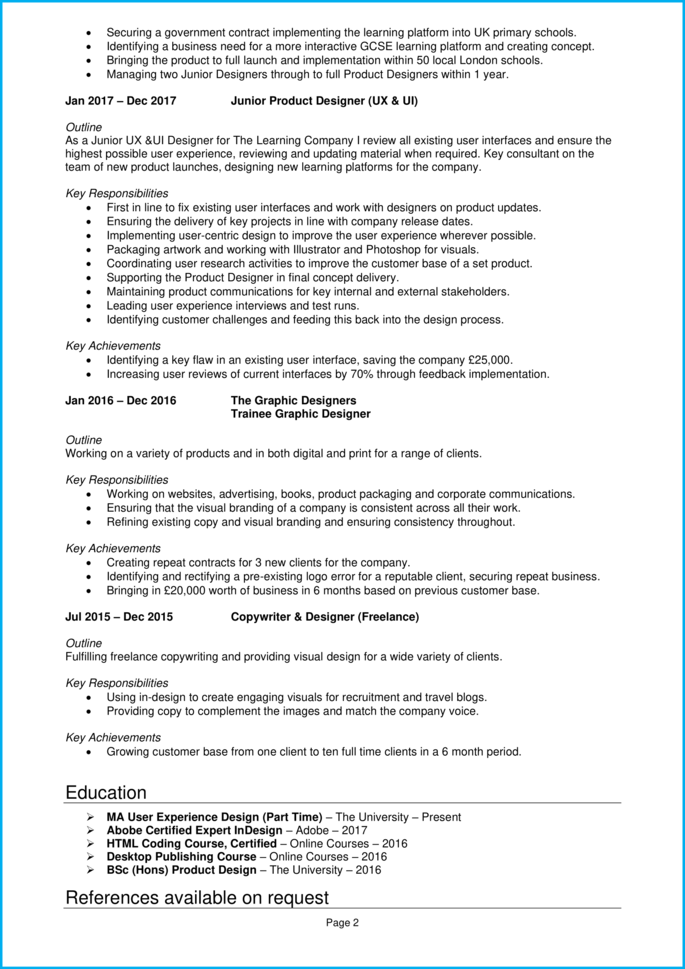 product design CV page 2