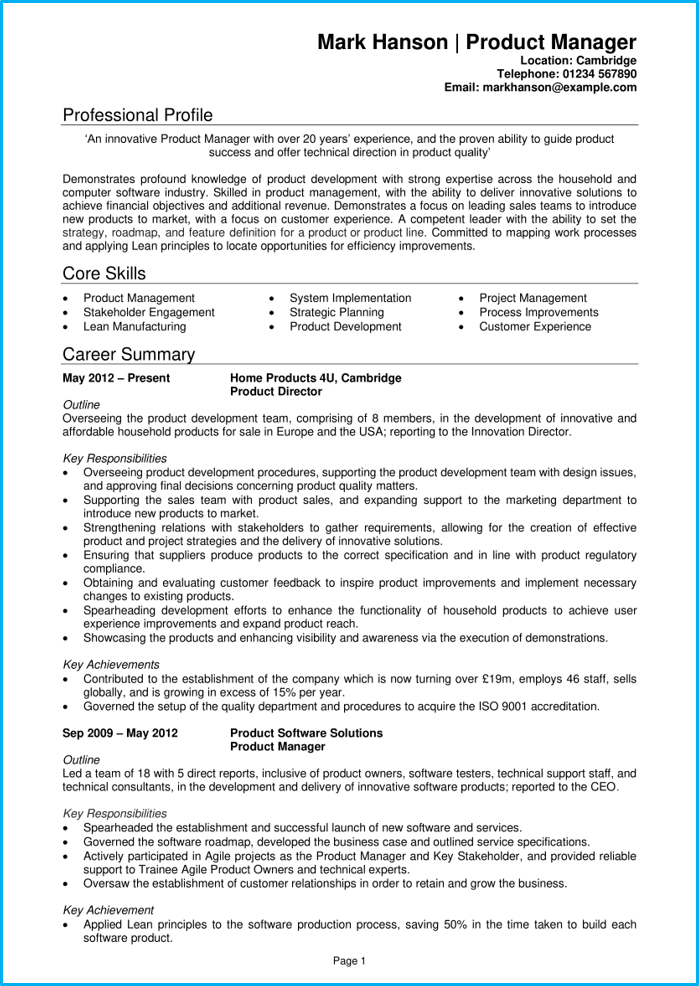 Product manager CV pg1