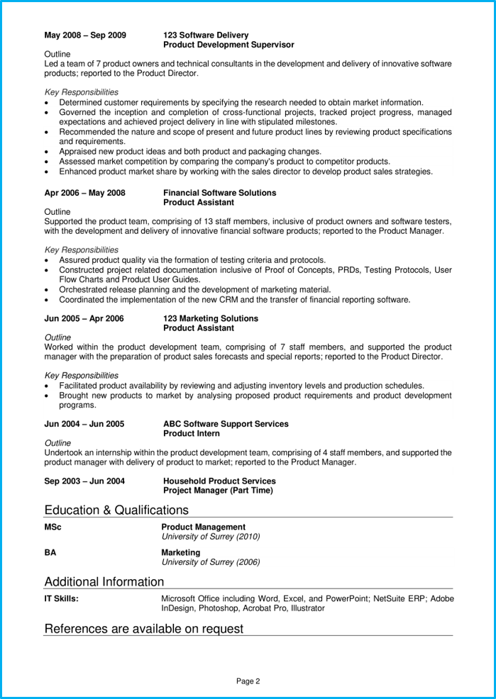 Product manager CV pg2