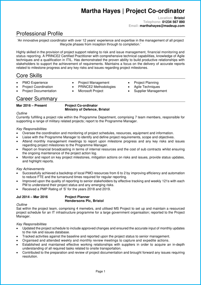 Project coordinator CV page 1