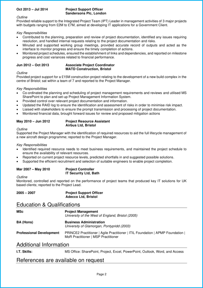 Project coordinator CV page 2