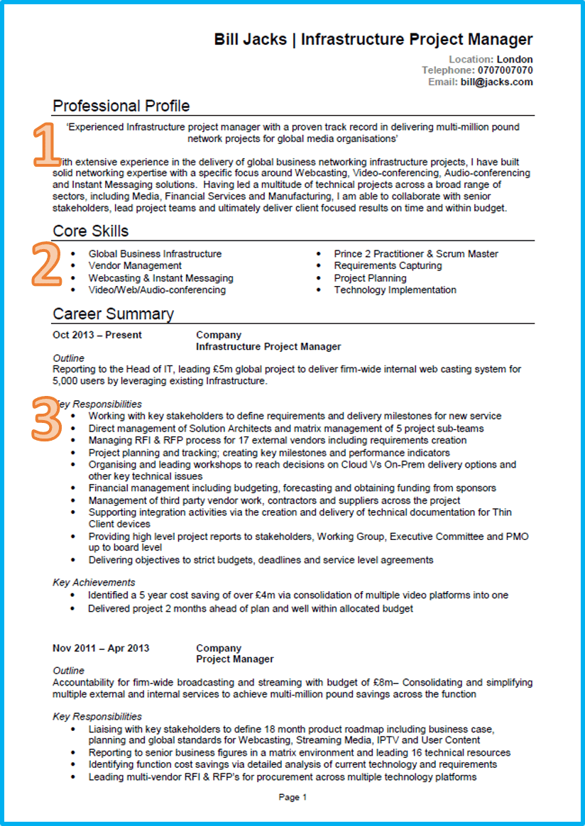 example of a good cv project manager cv