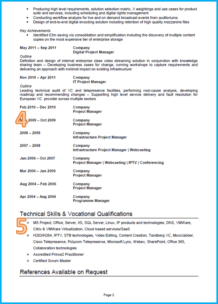 Project manager curriculum vitae page 2