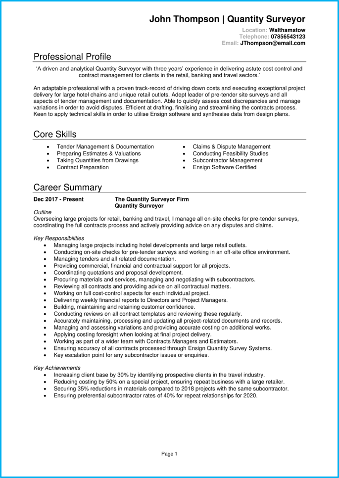 Quantity surveyor CV page 1