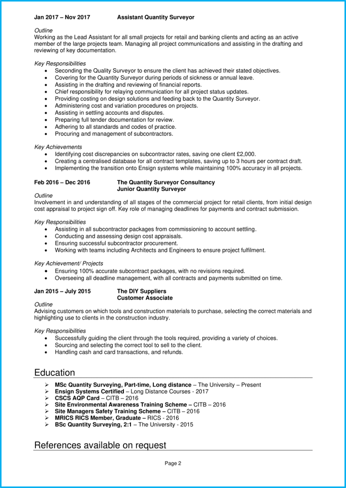 Quantity surveyor CV page 2