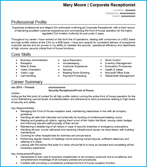 Receptionist CV example [With writing guide and CV template]
