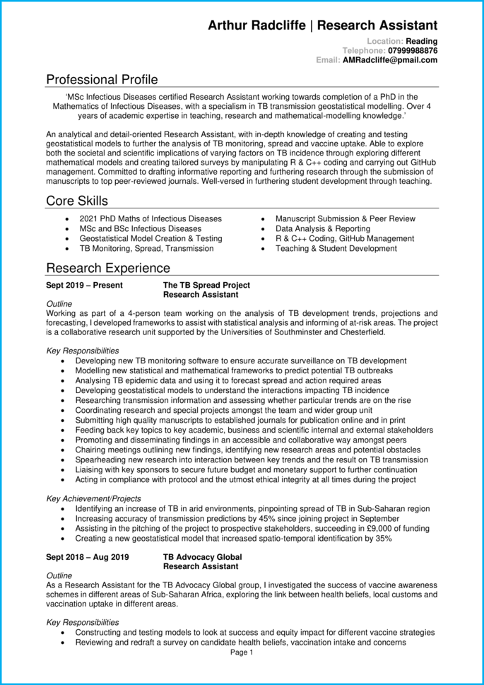 Research Assistant CV page 1